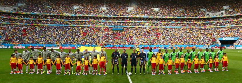 Pre-game ceremonies before the France vs. Nigeria match in the Round of 16 at the 2014 FIFA World Cup