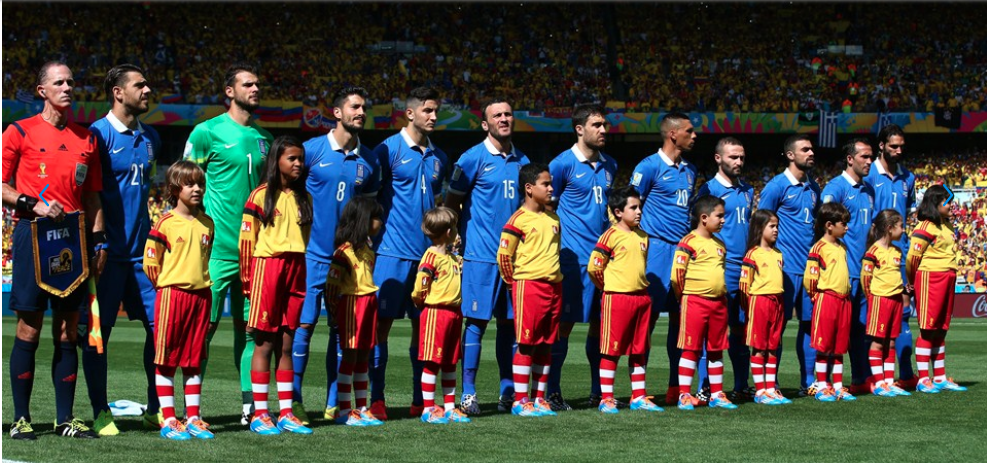 Hurd, seen here with Greece before their FIFA World Cup match against Colombia on June 14, 2014. This was the crew's first of three matches at the tournament.