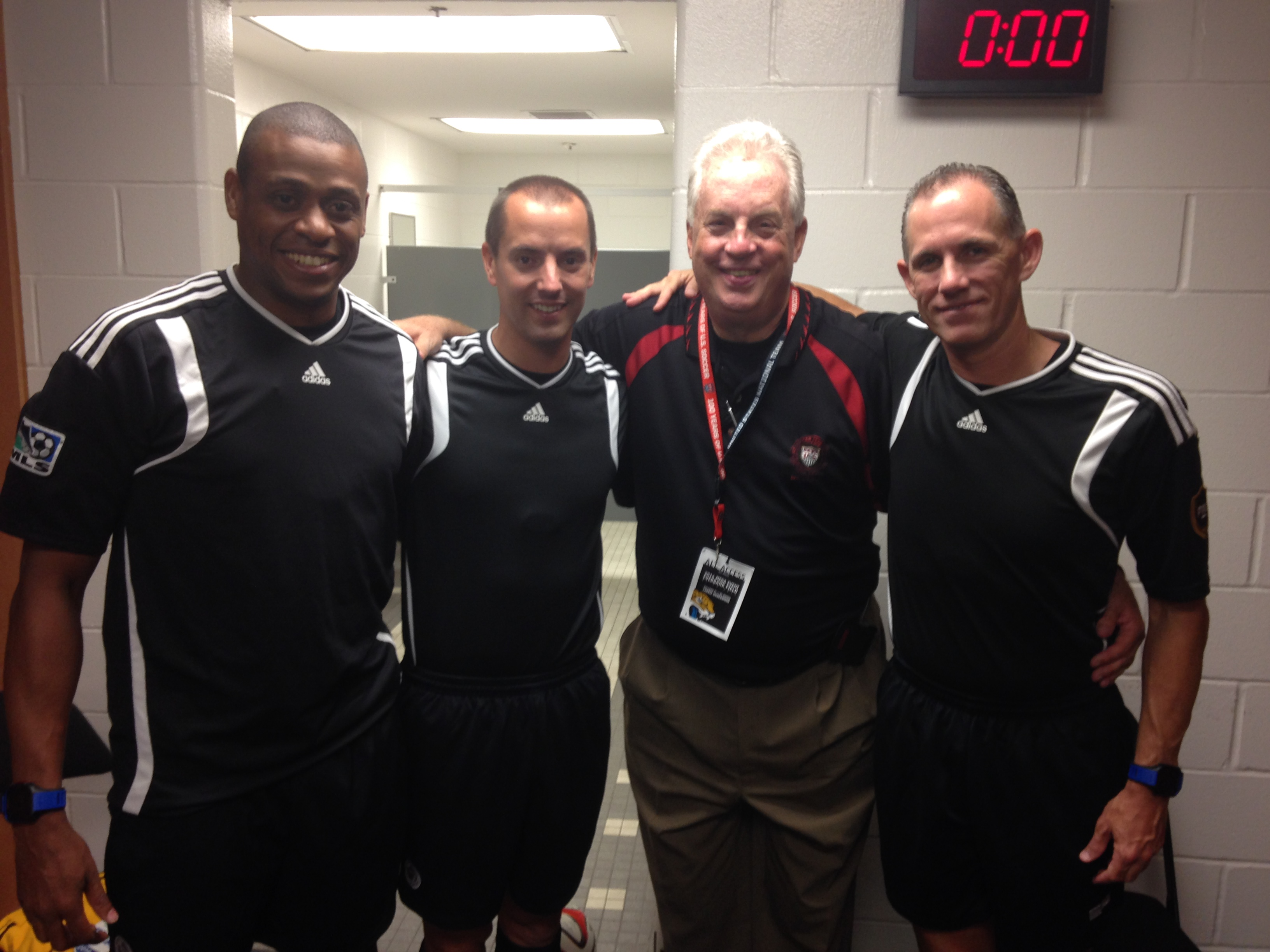 (L-R) Joe Fletcher, Mark Geiger, longtime MLS Referee Liaison Bob Cowhey, and Hurd.
