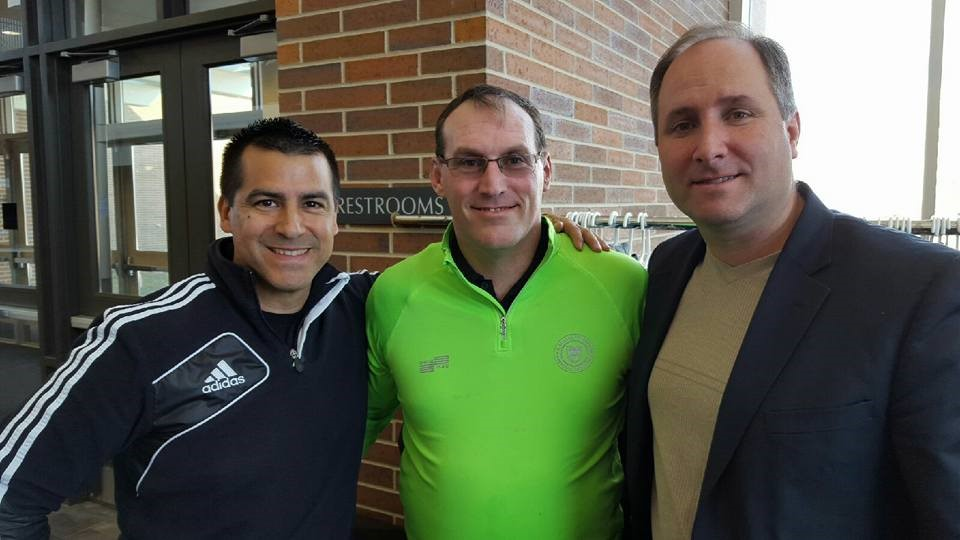 (L-R) Salazar, Vaughn, and retired FIFA Assistant Referee George Gansner at the 2016 Terry Vaughn Referee Academy